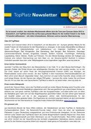 Newsletter vom 21.8.2012 - Top-Platz