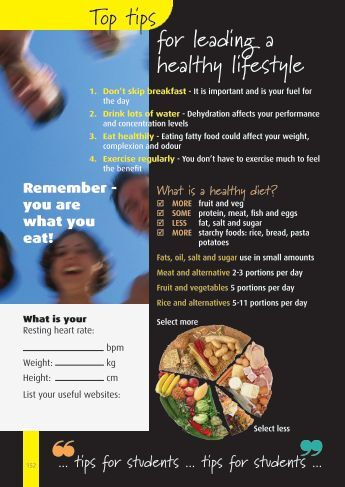   Top tips for leading a healthy lifestyle - Derwentside College
