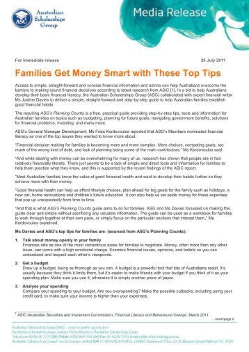 Families Get Money Smart with These Top Tips - Australian ...