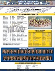 2010 MAC CHAMPIONS TOledO SwIMMINg ANd dIvINg