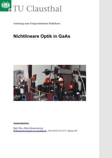 Nichtlineare Optik in GaAs - TU Clausthal
