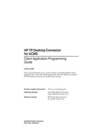 HP TP Desktop Connector for ACMS Client Application ...