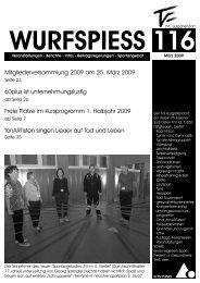 WURFSPIESS Ausgabe 116 (März 2009) - TVE Burgaltendorf