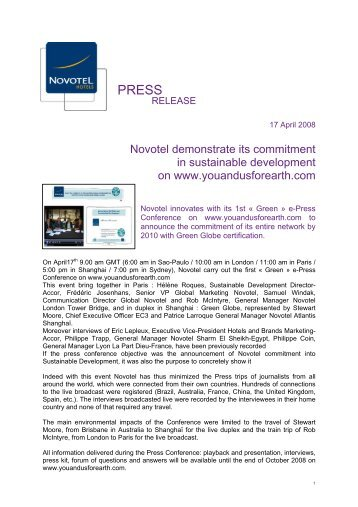Novotel demonstrate its commitment in sustainable development on ...
