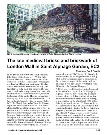 The late medieval bricks and brickwork of London Wall in Saint ...