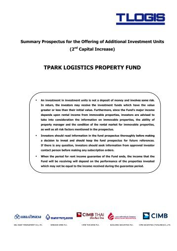Summary Prospectus of TPARK LOGISTICS PROPERTY FUND