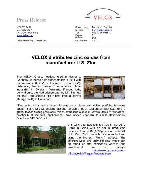 Press Release VELOX distributes zinc oxides from