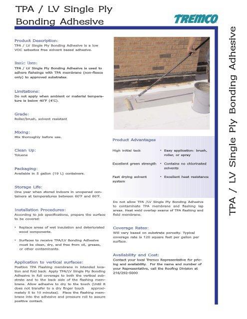 Tpa Lv Single Ply Bonding Adhesive Qxp Tremco Roofing