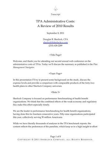 TPA Administrative Costs - Sherlock Company