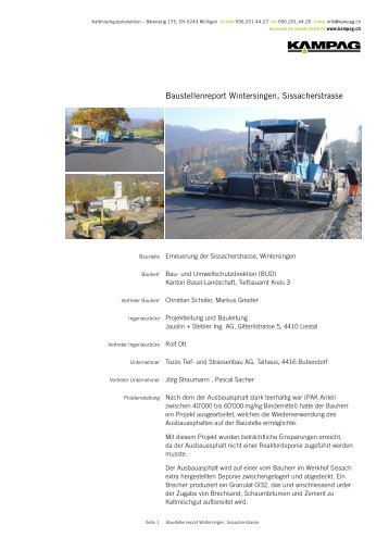 Download PDF: Baustellenreport Wintersingen ... - kampag