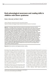 Early phonological awareness and reading skills in children - Down ...