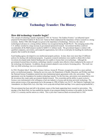 Technology Transfer: The History - Industrial Partnerships Office