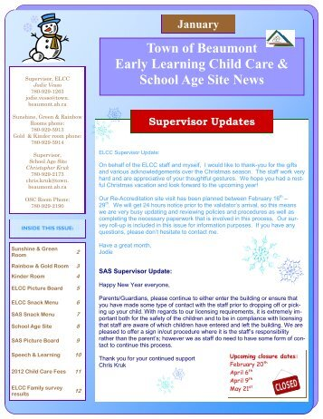 Town of Beaumont Early Learning Child Care & School Age Site News