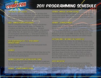 2011 programming schedule - New York Comic Con