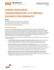 Human Resources Transformation: Is it driving business ... - PwC