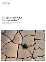 An opportunity for transformation* - PwC