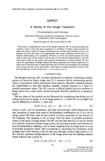 SURVEY A Survey of the Hough Transform - Computer Vision ...