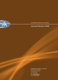 ANNUAL REVIEW 2008 - Canadian Payments Association
