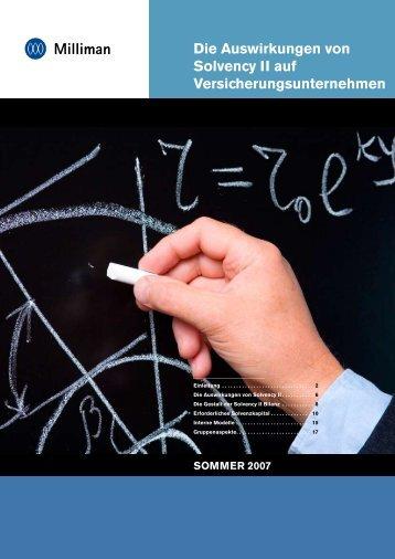 Die Auswirkungen von Solvency II auf ... - Milliman