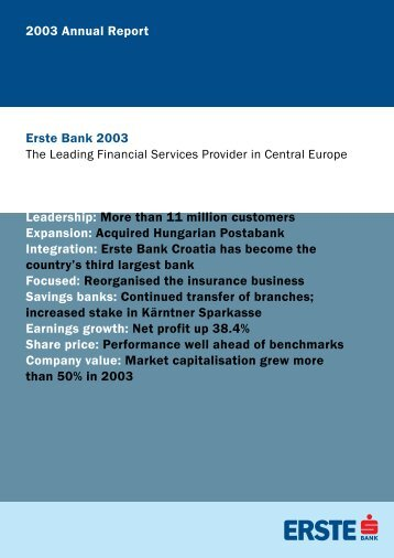 2003 Annual Report Leadership: More than 11 million ... - Erste Group