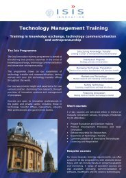 Technology Management Training - Isis Innovation