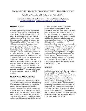 Manual Patient Transfer Training - American Society of Biomechanics