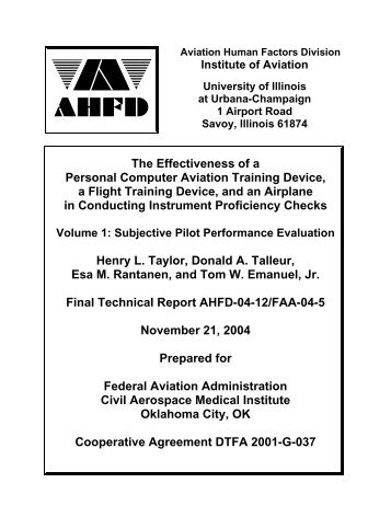 The Effectiveness of a Personal Computer Aviation Training ... - FAA