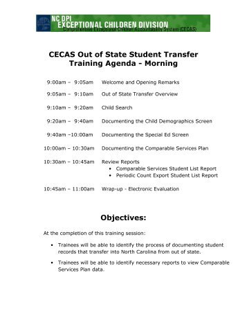 A20 - CECAS Out of State Transfers Training Agenda