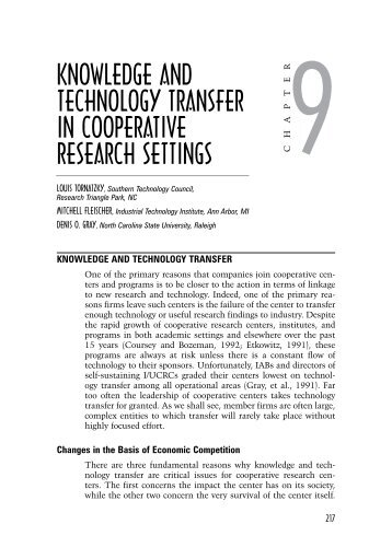 Knowledge and Technology Transfer in cooperaTive research ...
