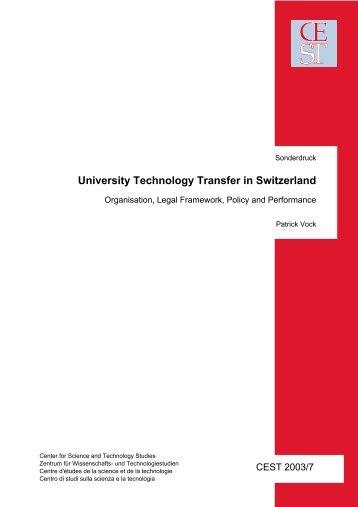 University Technology Transfer in Switzerland