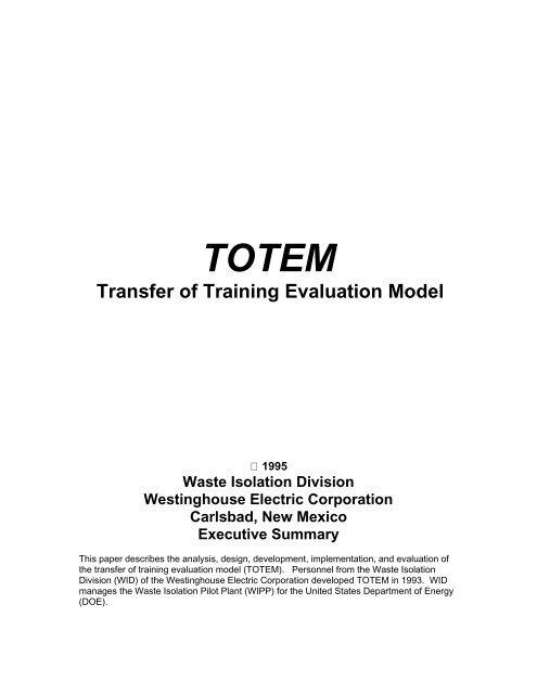 Transfer Of Training Evaluation Model Employee Development