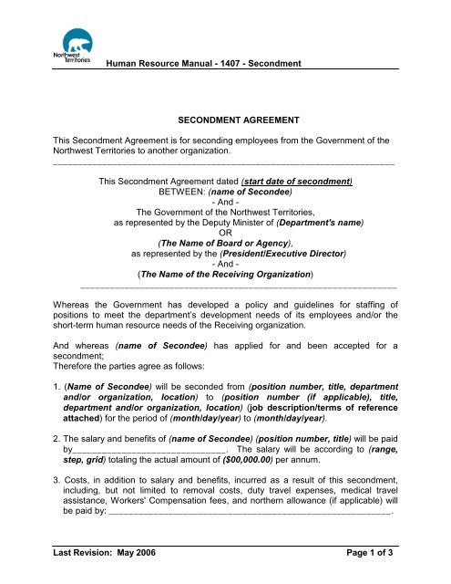 Secondment agreement for GNWT employee to another organization