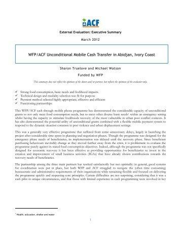 Ivory Coast Cash Transfer Evaluation (by Sharon Truelove