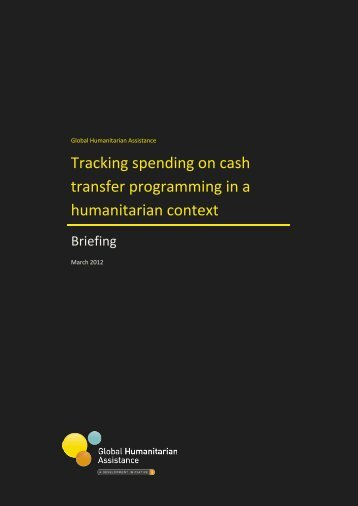 Tracking spending on cash transfer programming in a - Global ...