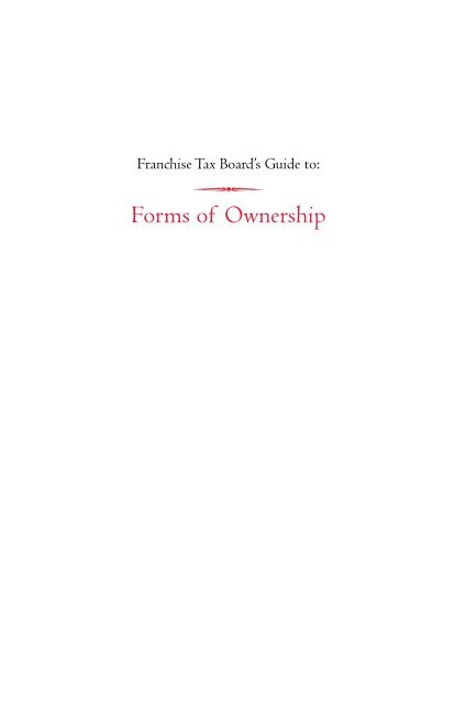 FTB 1123 - Forms of Ownership - California Franchise Tax