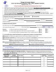 Staff Fees Form - Family Transfer - Oregon University System