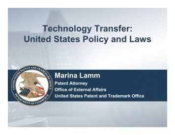 Technology Transfer: United States Policy and Laws - UNECE