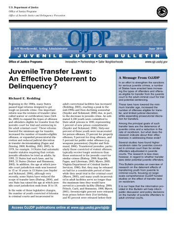 Juvenile Transfer Laws: An Effective Deterrent to Delinquency