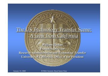 The US Technology Transfer Scene: A view from California ... - JUNBA