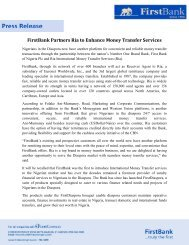 FirstBank Partners Ria to Enhance Money Transfer Services