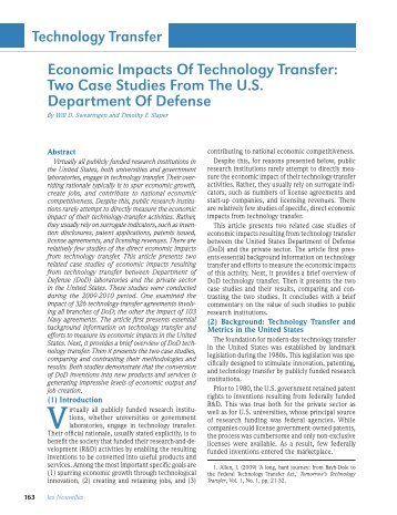 Economic Impacts Of Technology Transfer: Two Case ... - TechLink