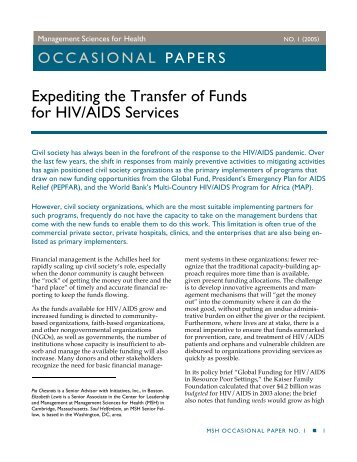 Expediting the Transfer of Funds for HIV/AIDS Services