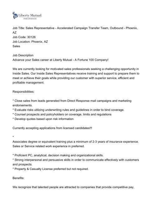 Job Title Sales Representative Accelerated Campaign Transfer