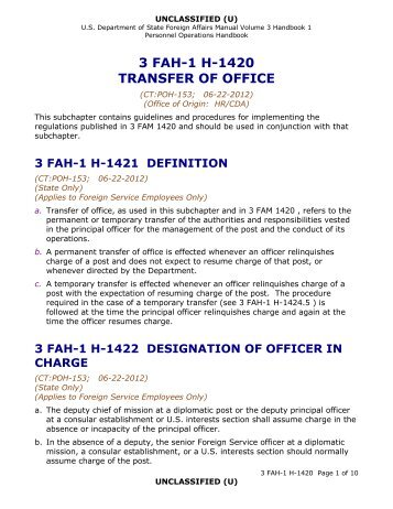 3 fah-1 h-1420 transfer of office - US Department of State