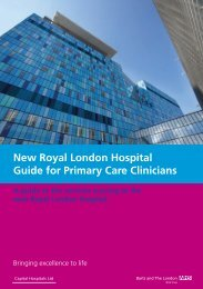New Royal London Hospital Guide for Primary Care Clinicians