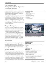 ABC of intensive care Transport of critically ill patients