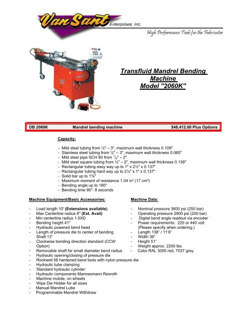 Transfluid Mandrel Bending Machine Model