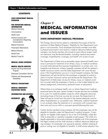 MEDICAL INFORMATION and ISSUES - US Department of State