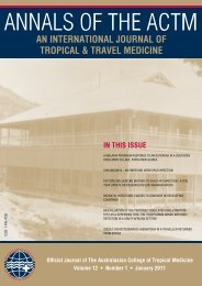 Annals of the ACTM - Australasian College of Tropical Medicine