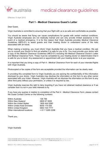 Medical Clearance Form (MED-01) - Virgin Australia Airpass